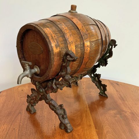 French Antique Copper Bound Oak Wine Barrel on Cast Iron Stand