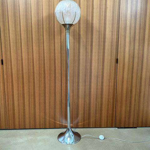 Italian Chrome Floor Lamp with Circular Glass Shade