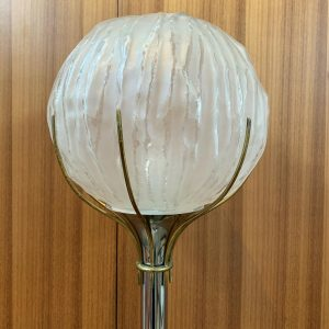 Italian Chrome Floor Lamp with Circular Glass Shade