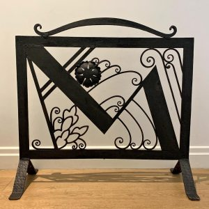French Art Deco Wrought Iron Fire Screen