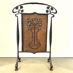 Beautiful Art Nouveau Wrought Iron and Copper Firescreen
