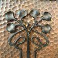 Beautiful Art Nouveau Wrought Iron and Copper Firescreen