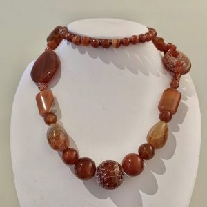 Agate and Carnelian Bead Necklace