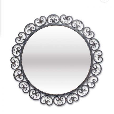 French Wrought Iron Circular Mirror
