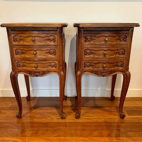 French Provincial Oak Bedside Cabinets