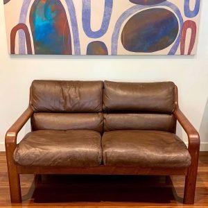 Mid Century Danish Two Seater Leather Sofa